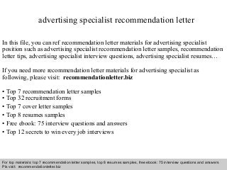advertising specialist recommendation letter - Online Advertising Specialist