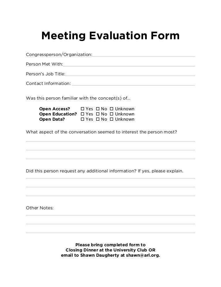 Advocacy Day Meeting Evaluation Form – Meeting Evaluation Form