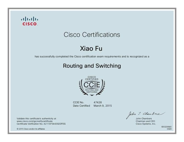 CISCO CCIE R&S CERTIFICATE
