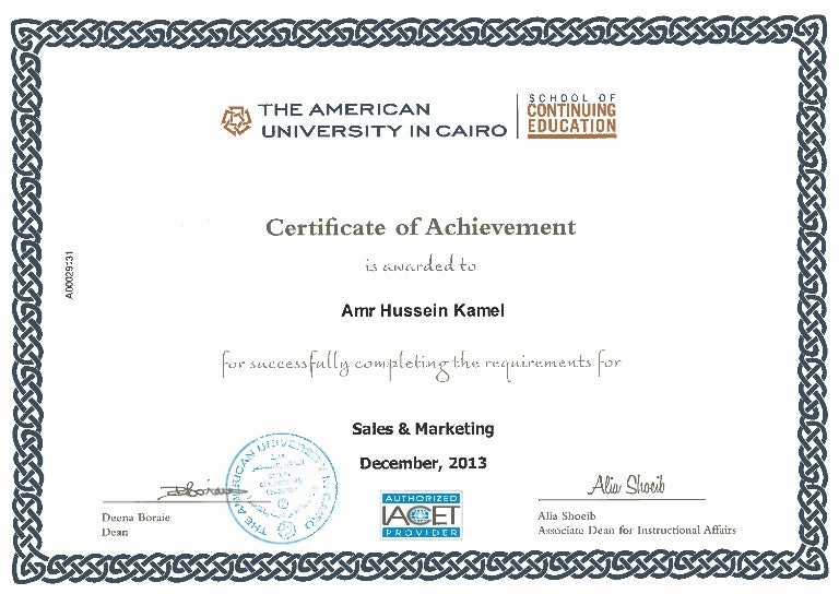 Achievement in Marketing and Sales Certificate