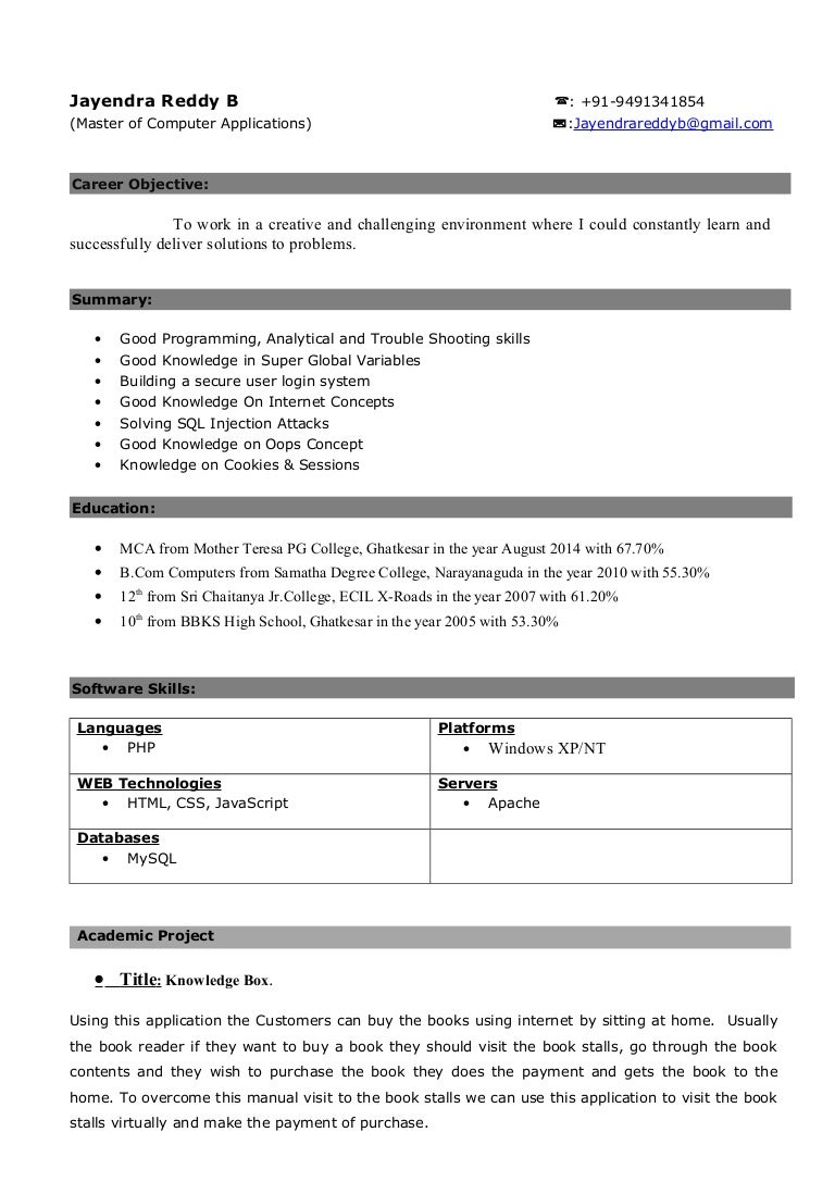Jayendra PHP Developer CV