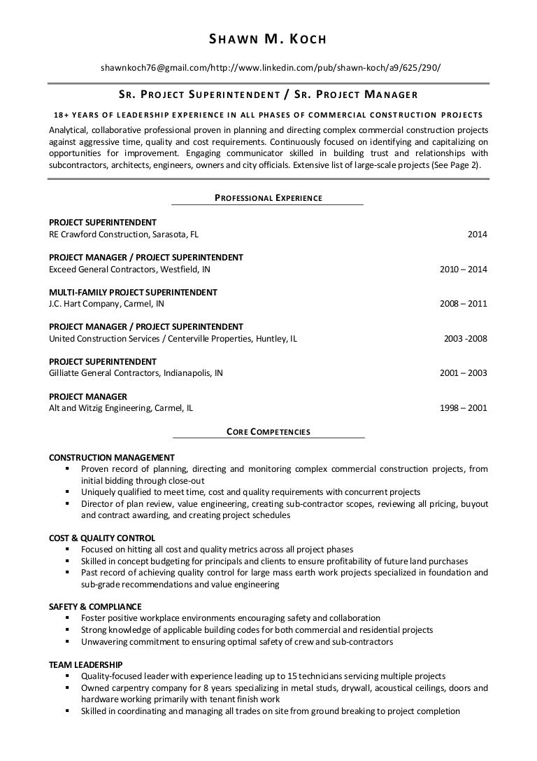 100 Construction Superintendent Resume Samples Golf Resumes