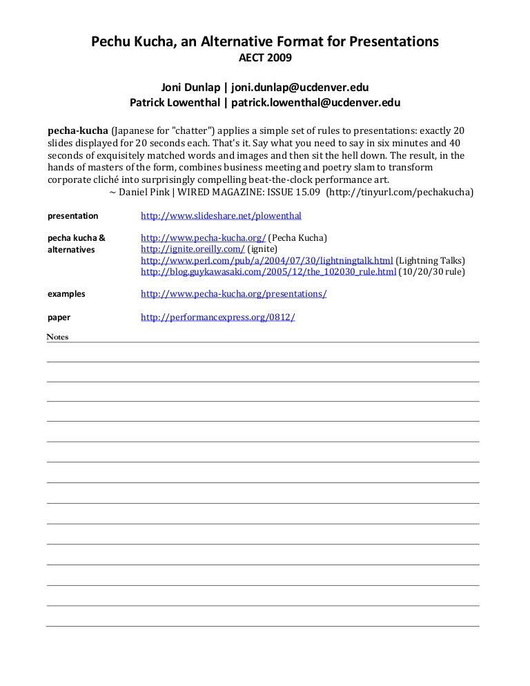 aect 2009 pecha kucha handout, Presentation templates