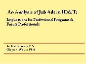 An Analysis of Jobs Ads in ID&T