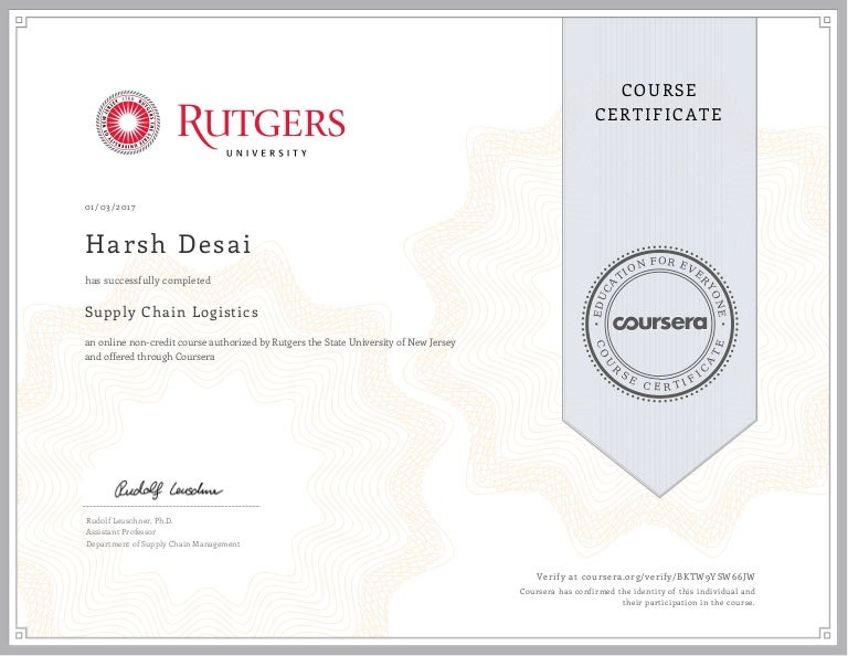Supply Chain Certificate