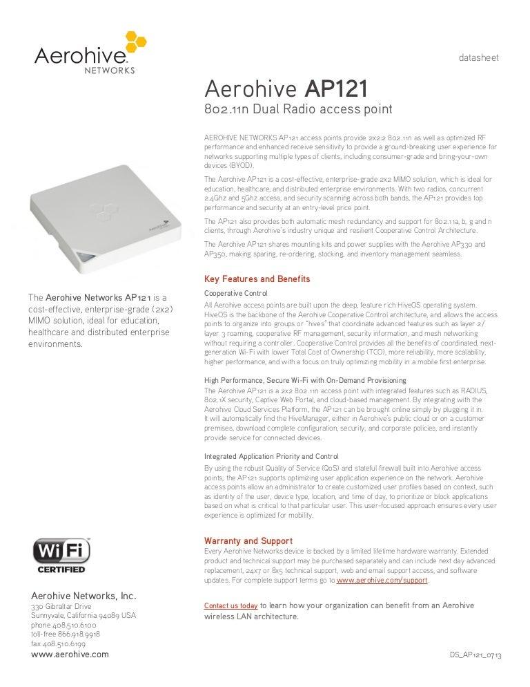 Aerohive AP121 802 11n Dual Radio Access Point