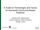 Aesp fall 2013 a toolkit of technologies and tactics for successful community‐based initiatives avseikova