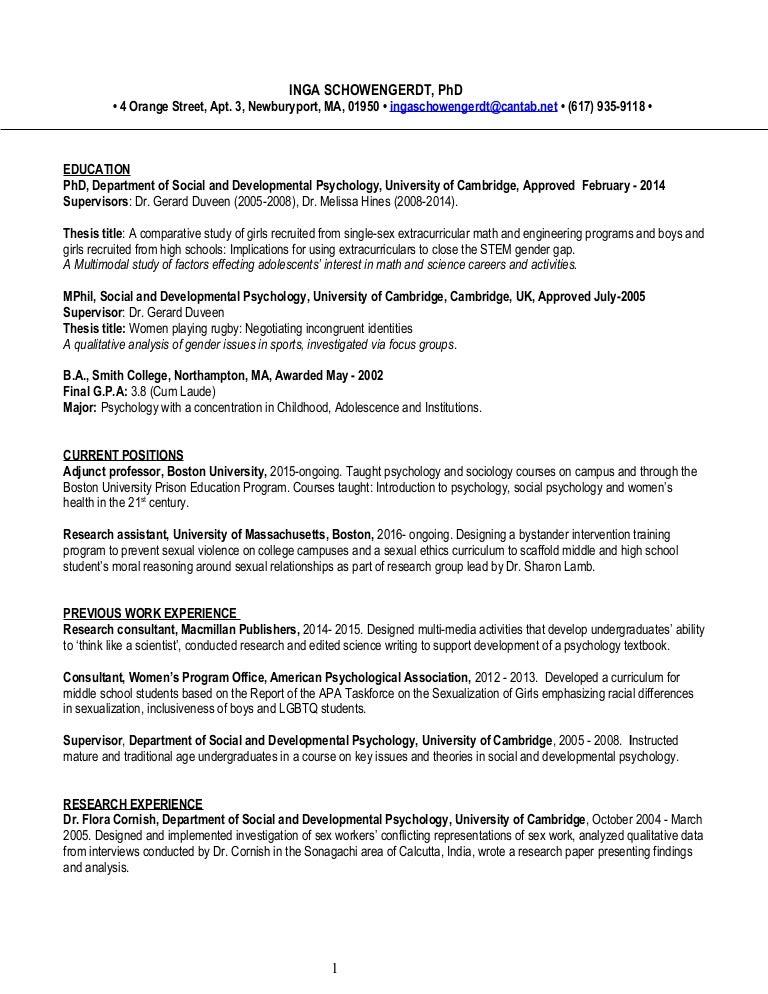 CV FOR INGA SCHOWENGERDT