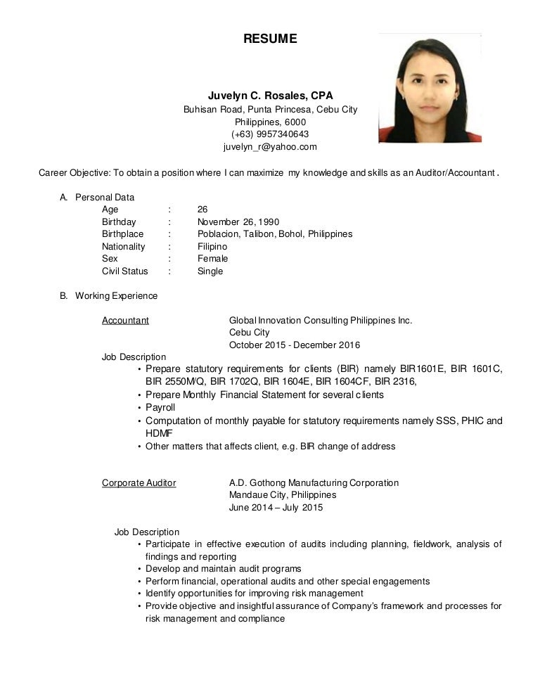 resume  juvelyn c  rosales