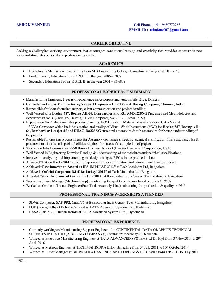 Ashok Vannier_Resume_6 Years_Aerospace