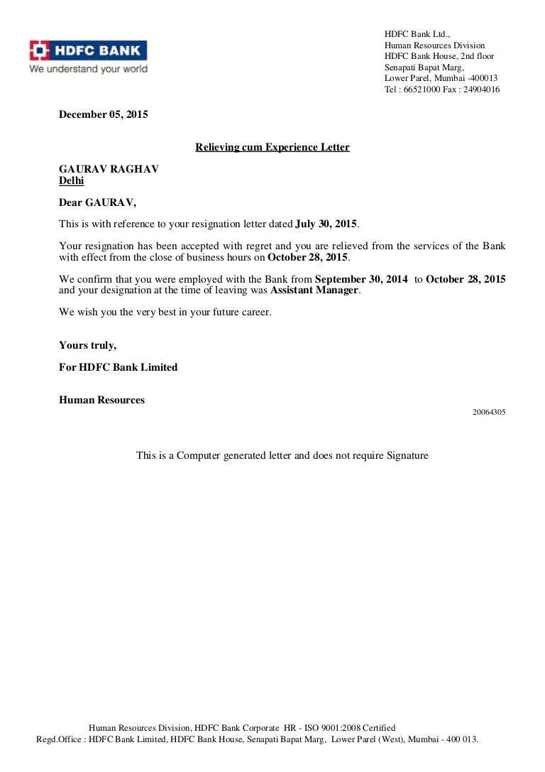 Relieving Cum Experience Letter Pdf