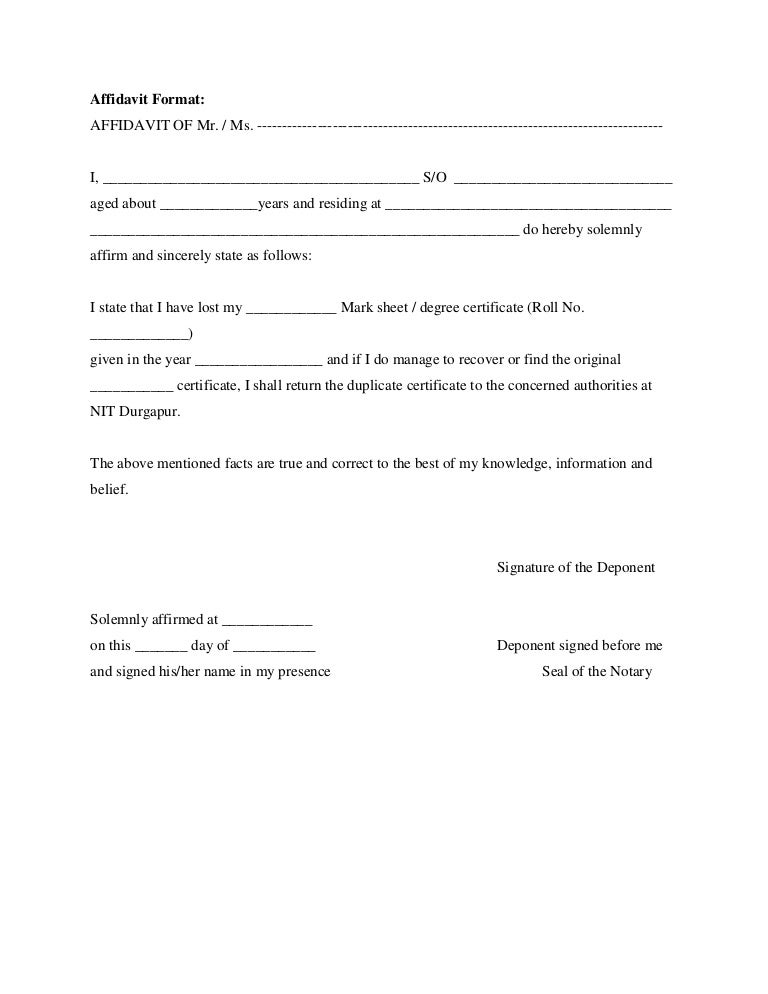 Stunning Affidavit Formats Ideas - Best Resume Examples and Complete ...