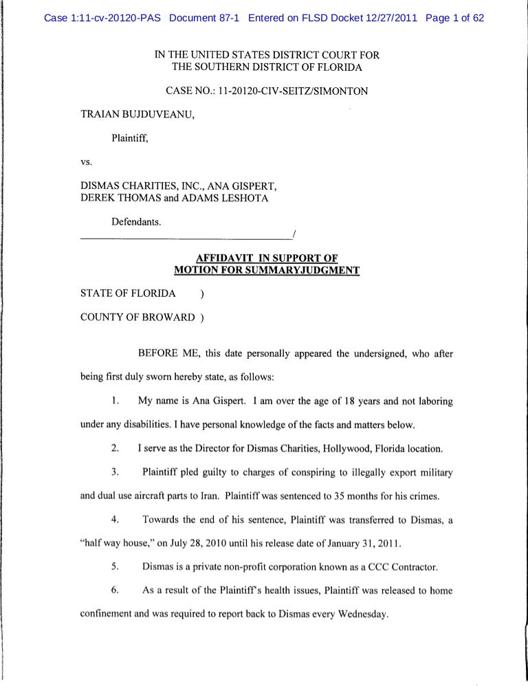 Sample Affidavit Affidavit In Support Of Motion For Summary