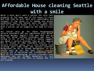 Affordable house cleaning seattle with a smile