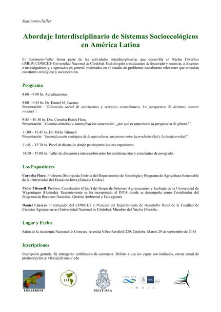 Afiche seminario-Taller Sistemas Socioecológicos