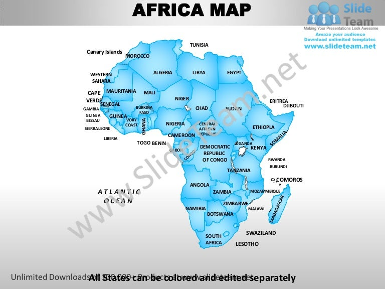 Africa powerpoint editable continent map with countries templates sli toneelgroepblik Choice Image