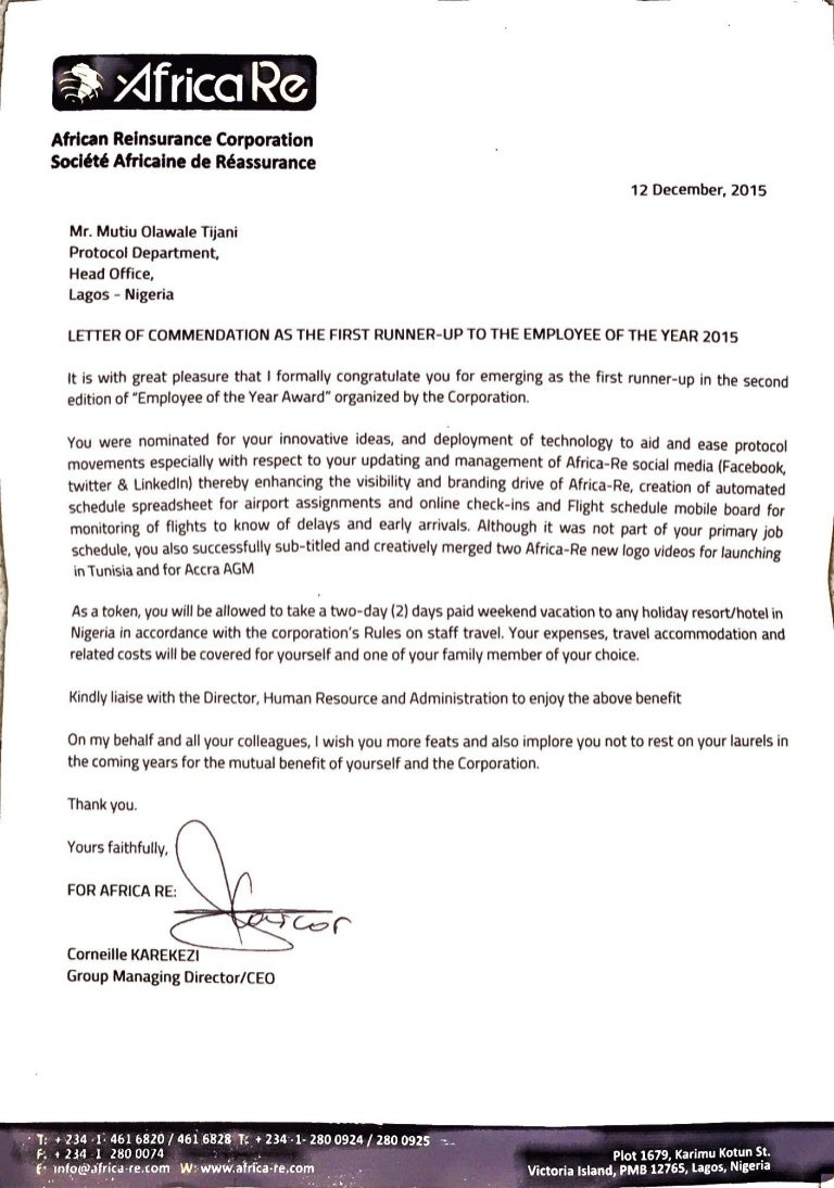 Africa Re  Emloyee Of The Year Awards Commendation Letter As  St