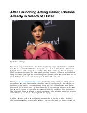 After launching acting career, rihanna already in search of oscar