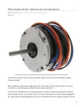 Aftermarket Motor Selection & Considerations