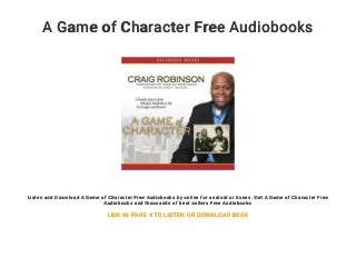 A Game of Character Free Audiobooks