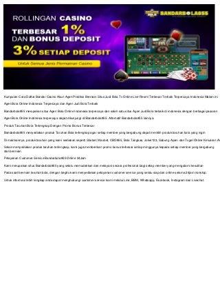 Agen Bola Terpercaya Casino Resmi Online Bandarbola855