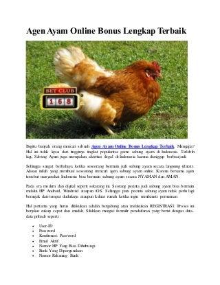 Agen ayam online bonus lengkap terbaik