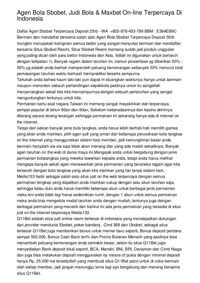 Agen Bola Sbobet Judi Bola Maxbet On Line Terpercaya Di Indonesia