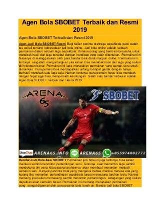 Agen bola sbobet terbaik dan resmi 2019