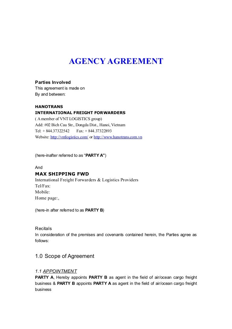 Agency Agreement Hnt Ma Xshipping