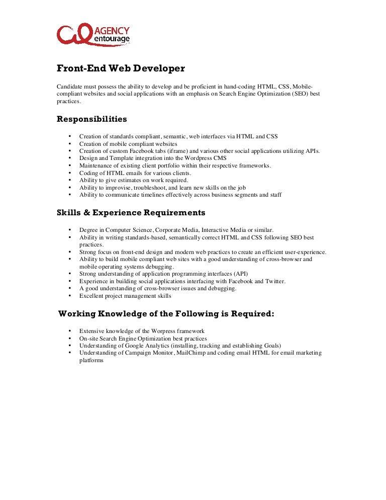 Entry-Level Front-End Web Developer Job Description