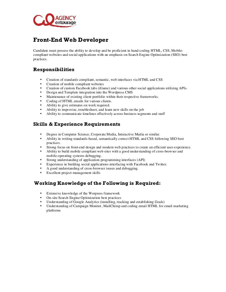 entry level front end web developer job description