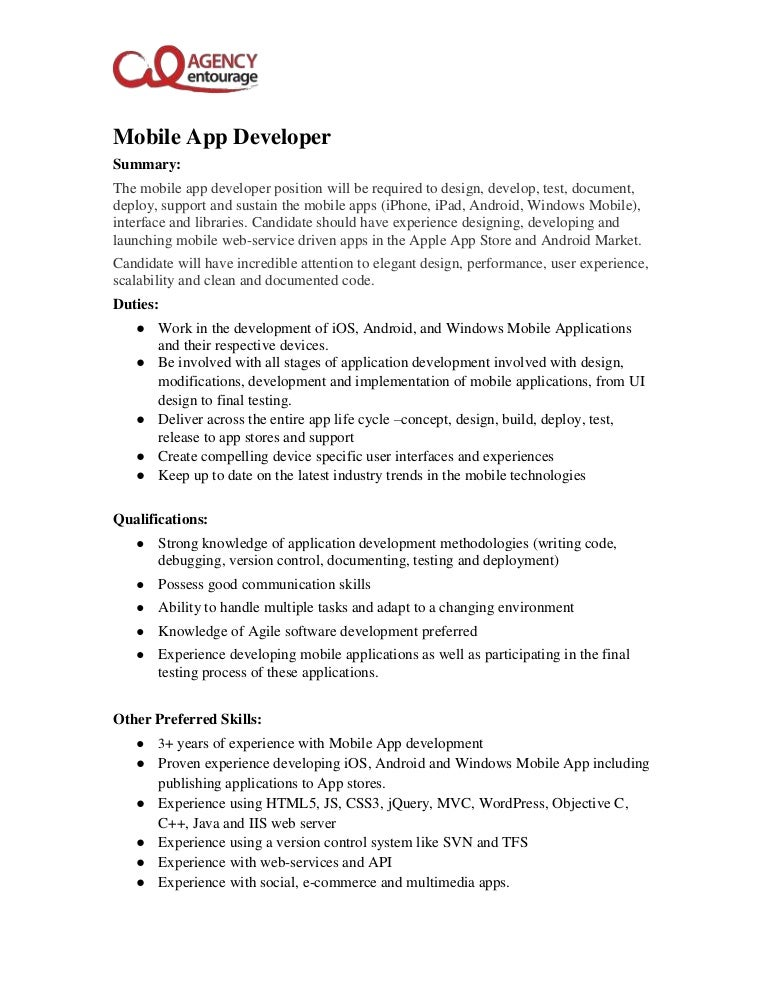 Android Mobile Application Developer Job Description - 8.17 ...