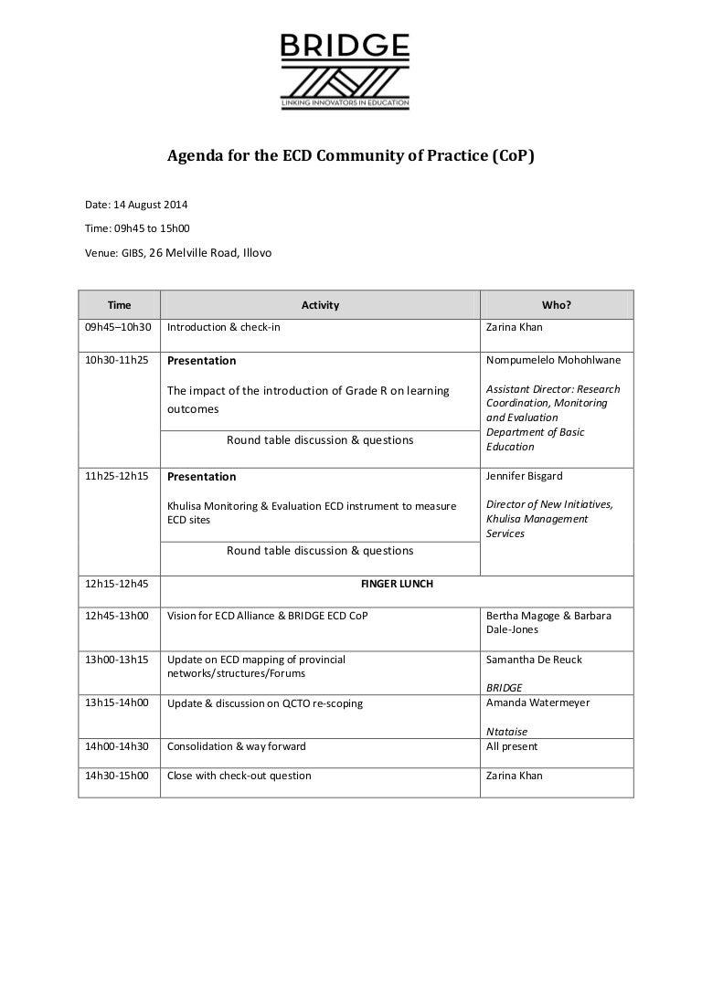 Agenda- ECD Community of Practice meeting- 14 Aug 2014