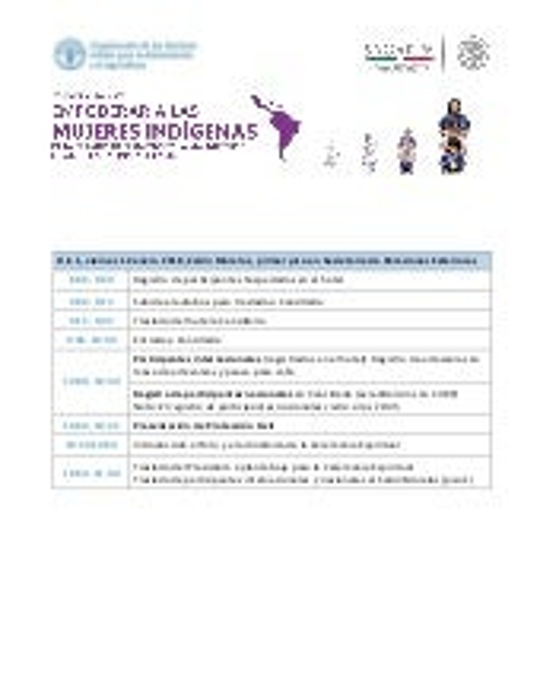 Agenda Foro Regional de Mujeres Indígenas