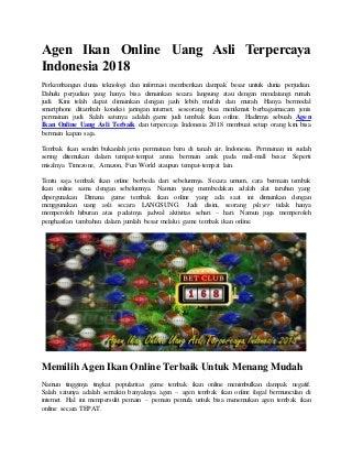 Agen ikan online uang asli terpercaya indonesia 2018