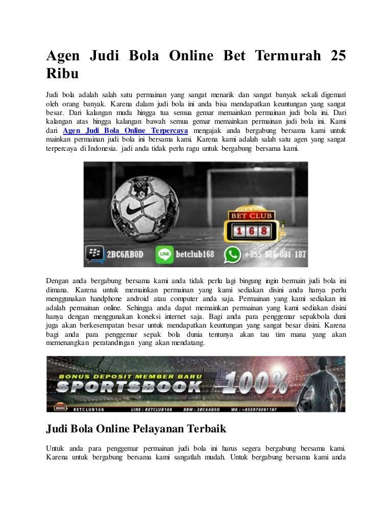 Agen Judi Bola Online Bet Termurah 25 Ribu