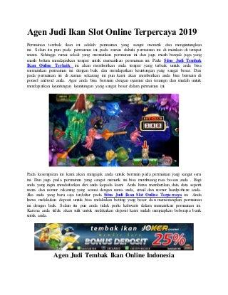 Agen judi ikan slot online terpercaya 2019