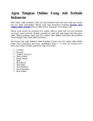 Agen Tangkas Online Uang Asli Terbaik Indonesia