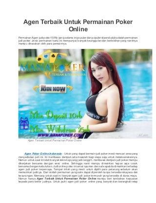 Agen terbaik untuk permainan poker online