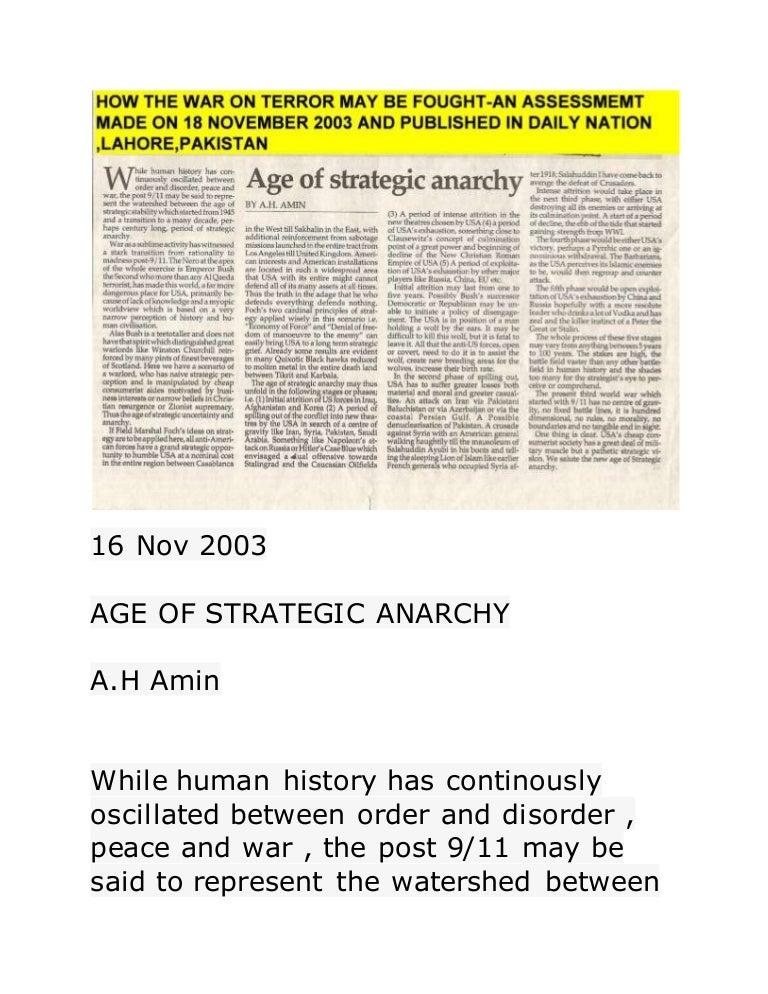 Age of strategic anarchy