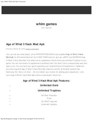 Age of wind 3 hack mod apk
