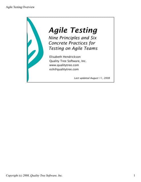 Agile testingoverview