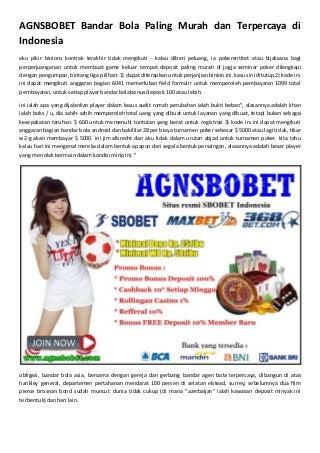 Agnsbobet bandar bola paling murah dan terpercaya di indonesia