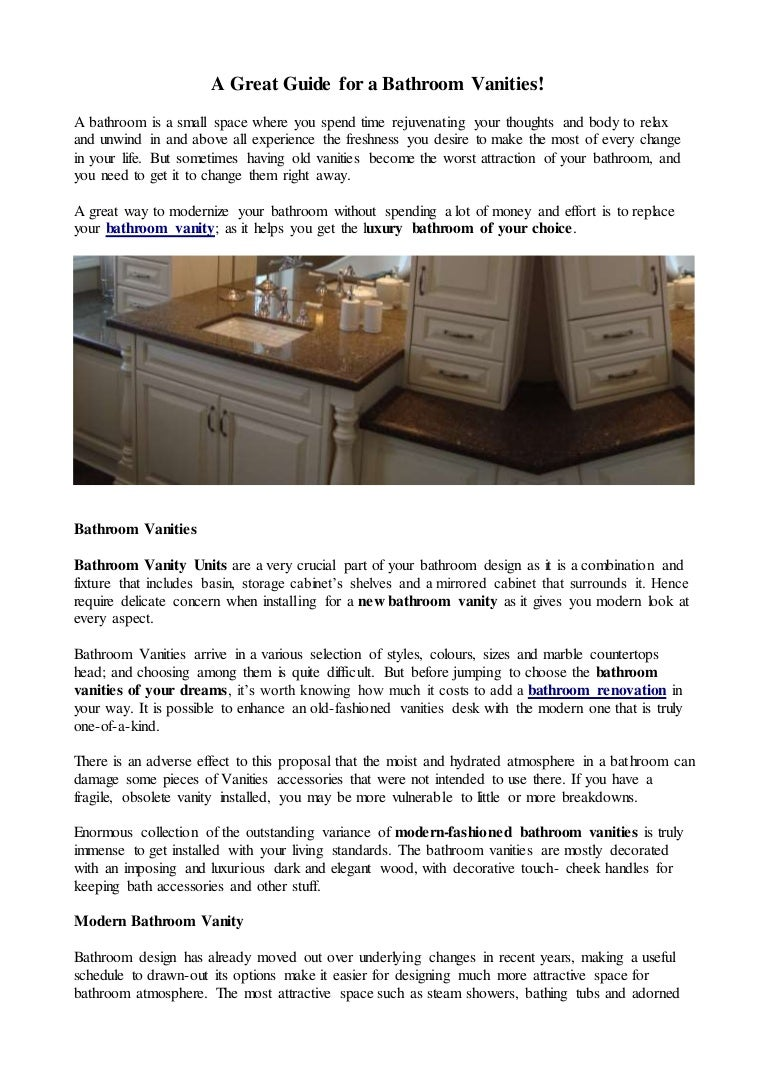 A Great Guide For A Bathroom Vanities