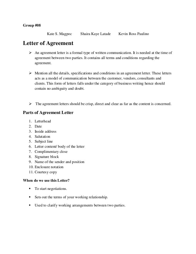 Agreement Letter Hardcopy
