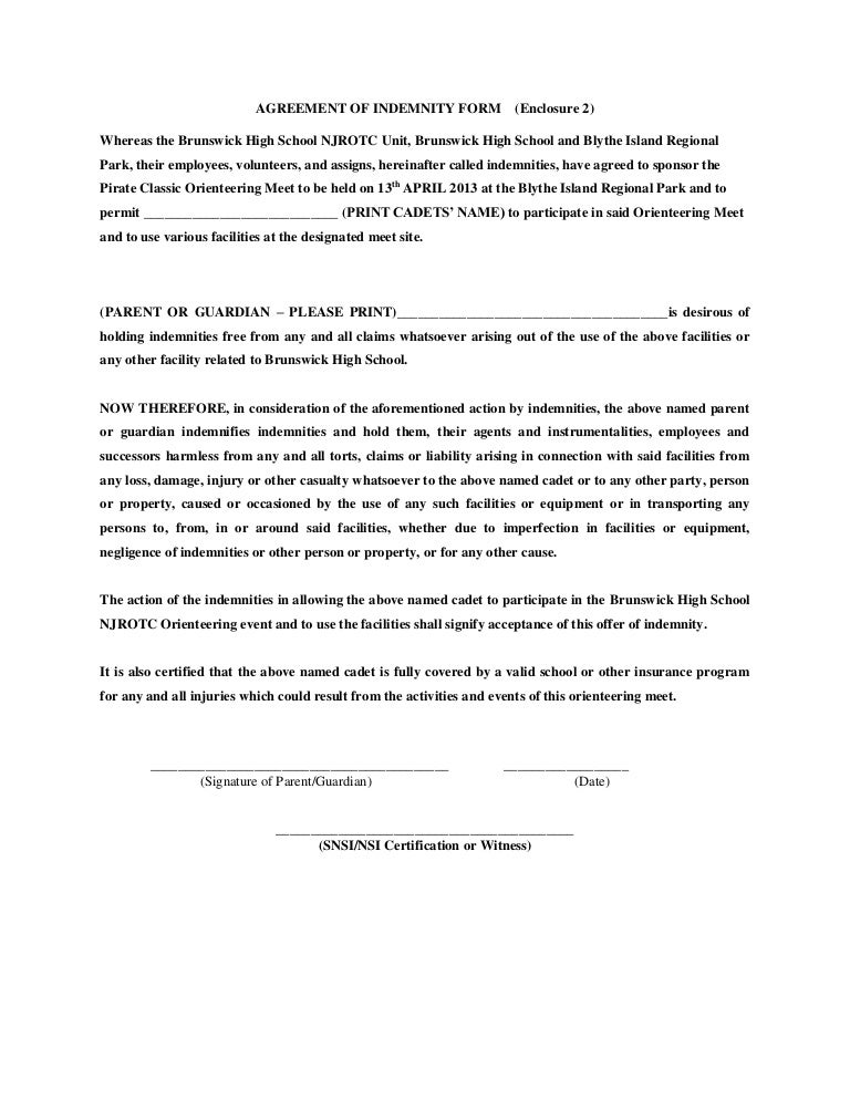 Agreement of indemnity form – Indemnity Template