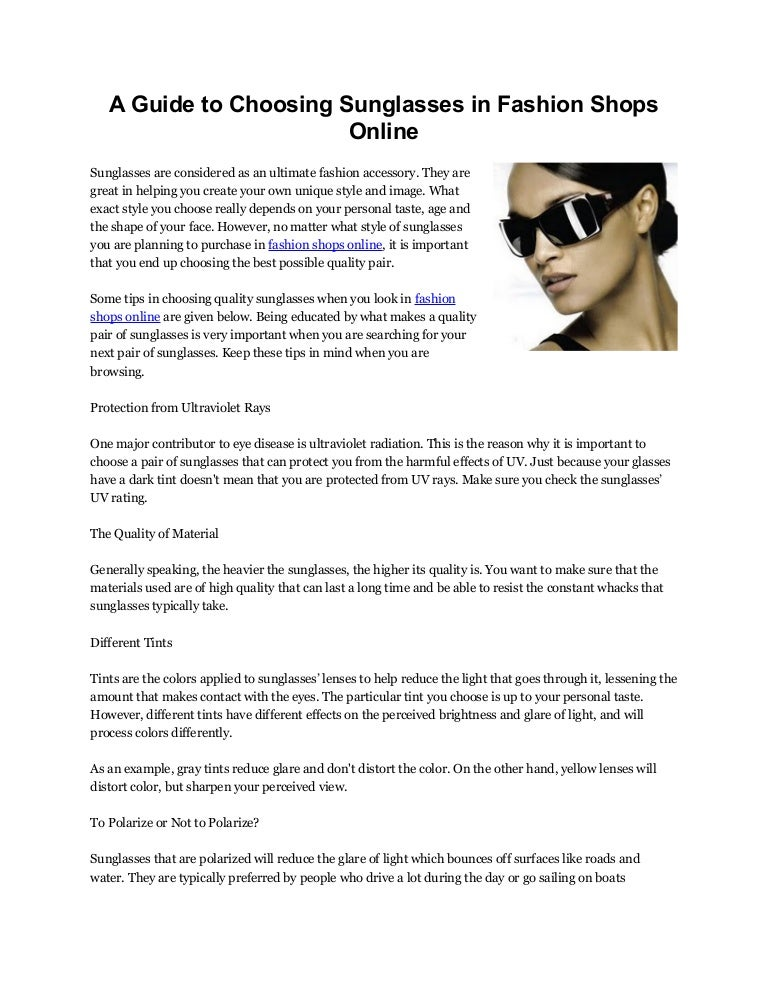 525f5d898 A guide to choosing sunglasses in fashion shops online