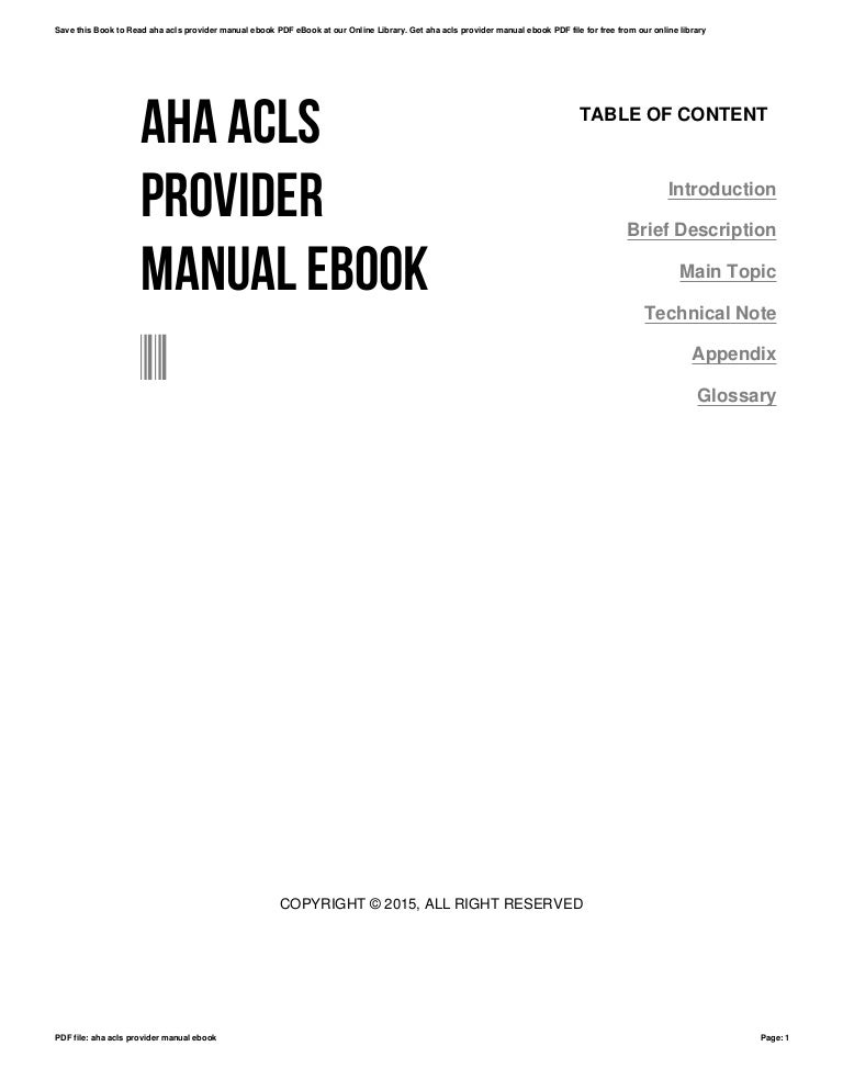 Aha acls provider manual ebook