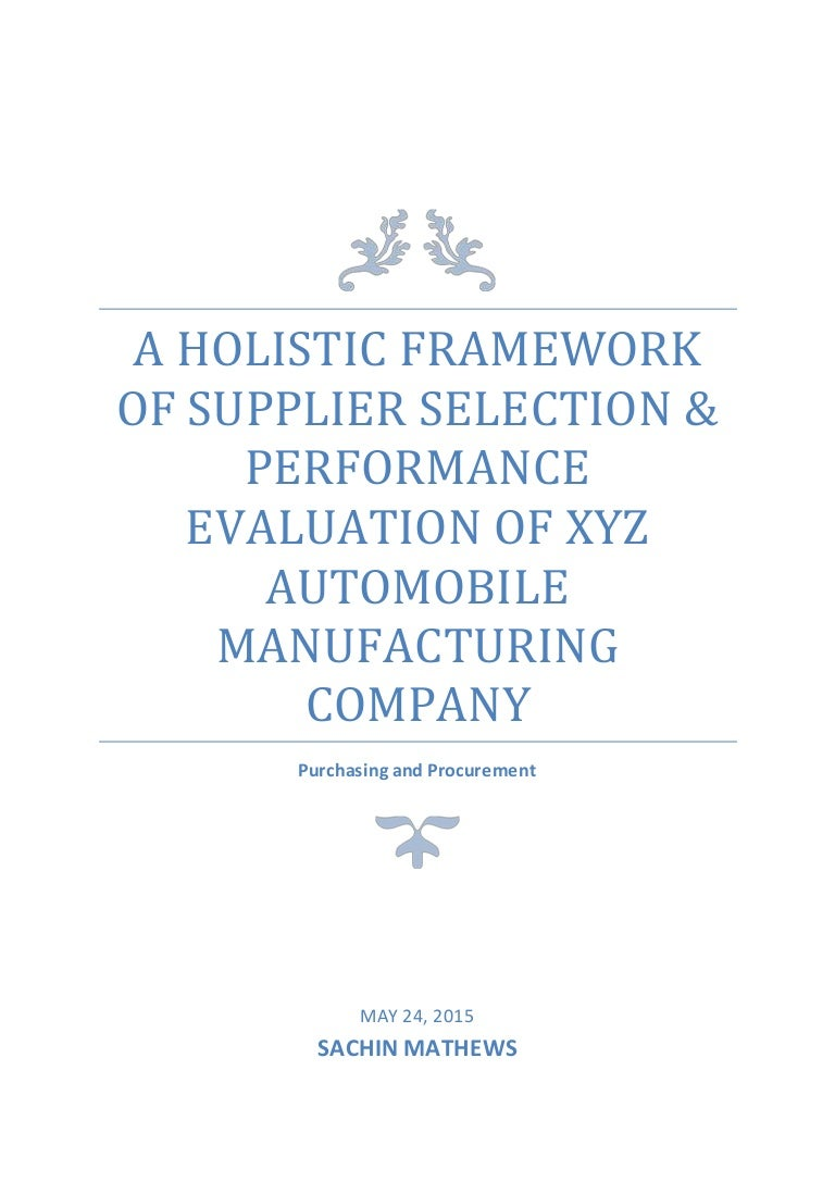 A Holistic Framework Of Supplier Selection And Performance Evaluation 3 Phase Wiring X Y Z