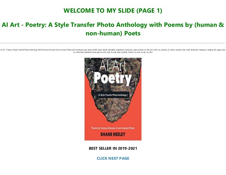Free Download [PDF] AI Art – Poetry: A Style Transfer Photo Anthology with…